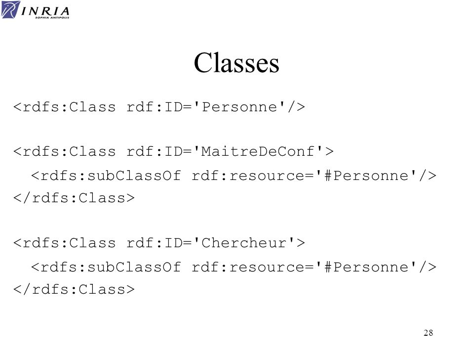 Classes <rdfs:Class rdf:ID= Personne />
