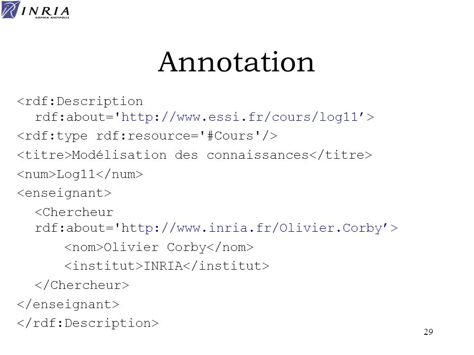 Annotation <rdf:Description rdf:about= http://www.essi.fr/cours/log11'> <rdf:type rdf:resource= #Cours />
