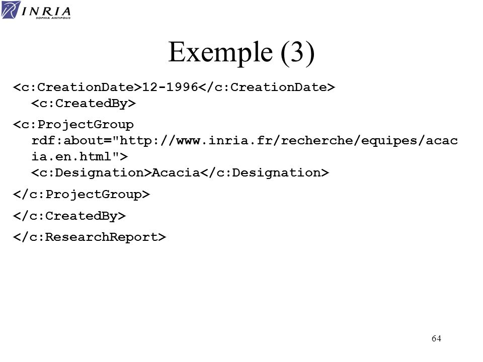 Exemple (3) <c:CreationDate>12-1996</c:CreationDate> <c:CreatedBy>