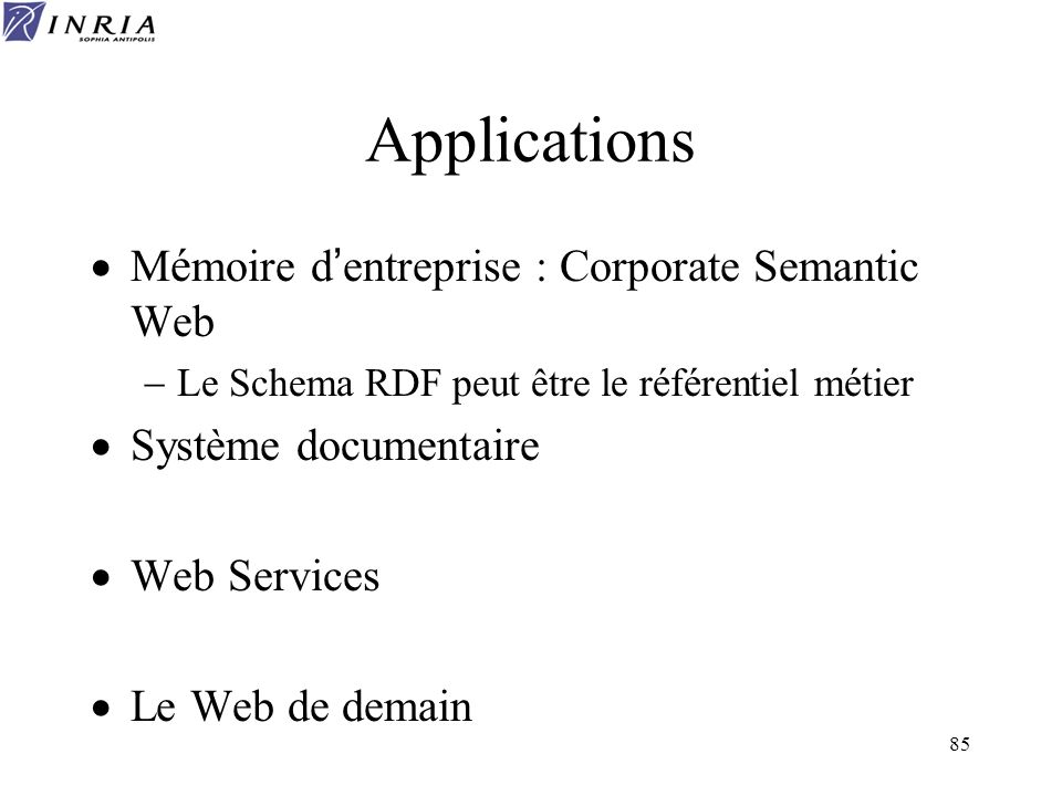 Applications Mémoire d'entreprise : Corporate Semantic Web