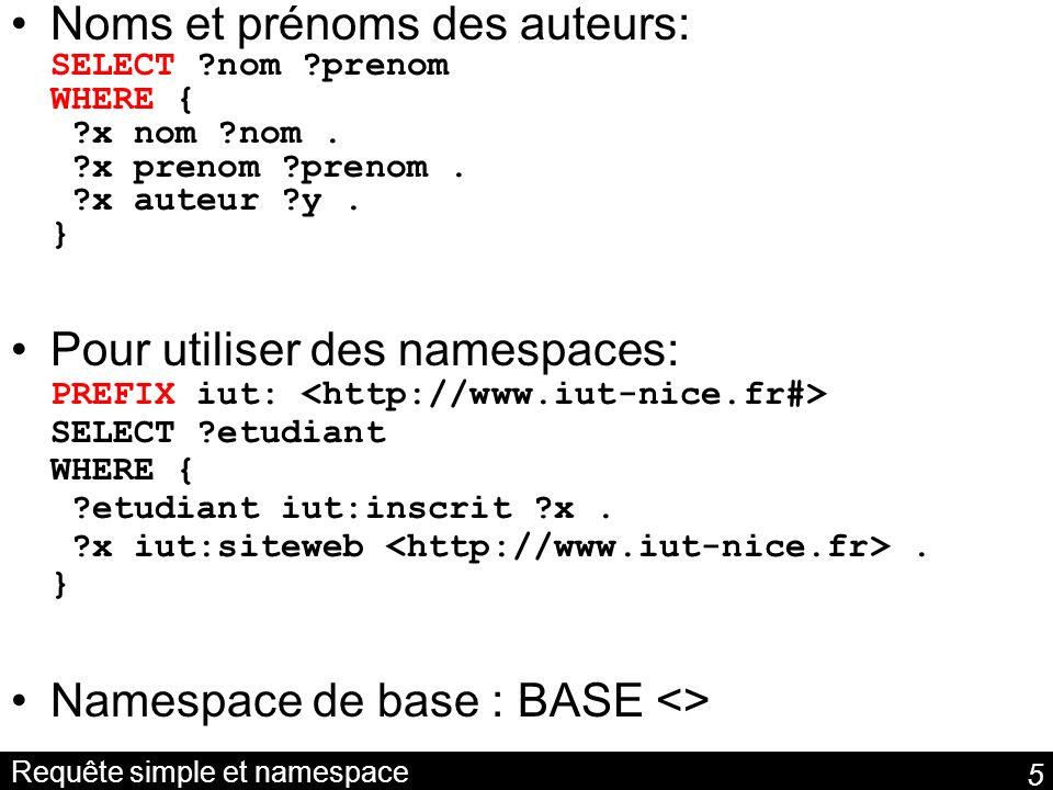 Requête simple et namespace