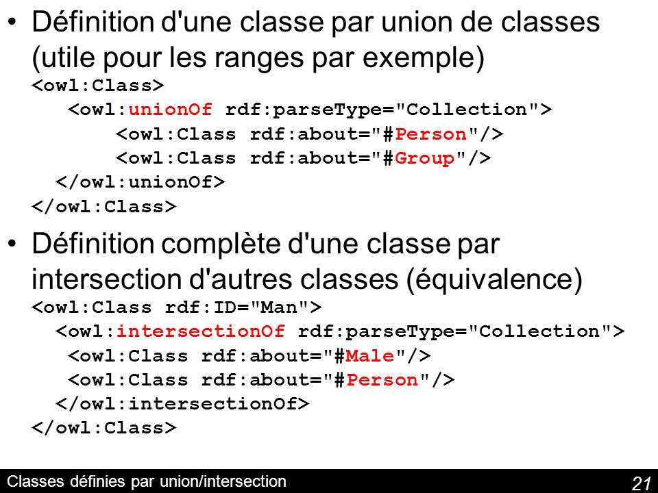 Classes définies par union/intersection