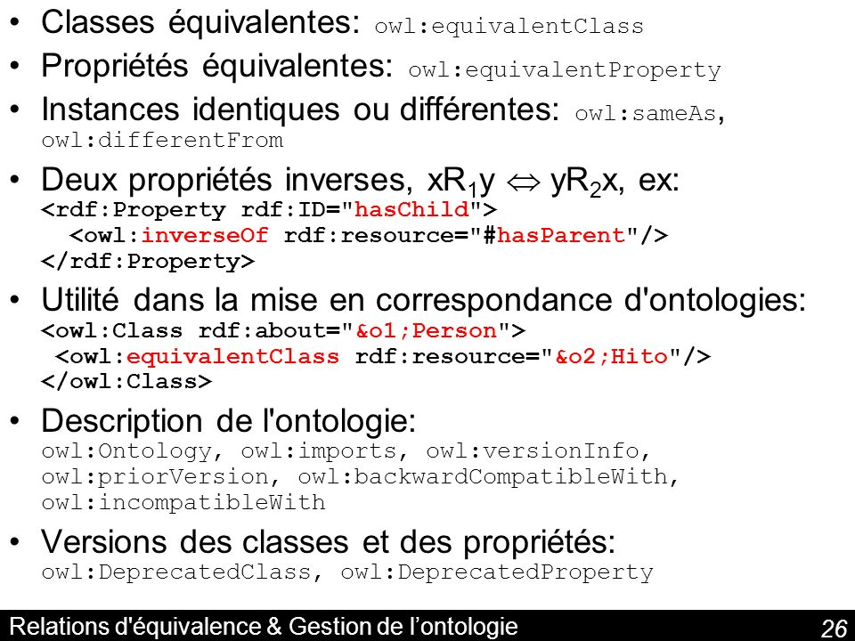 Relations d équivalence & Gestion de l'ontologie