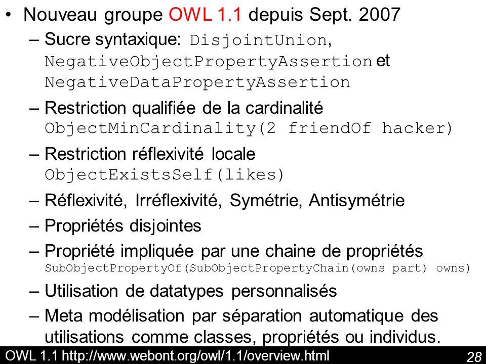 OWL 1.1 http://www.webont.org/owl/1.1/overview.html
