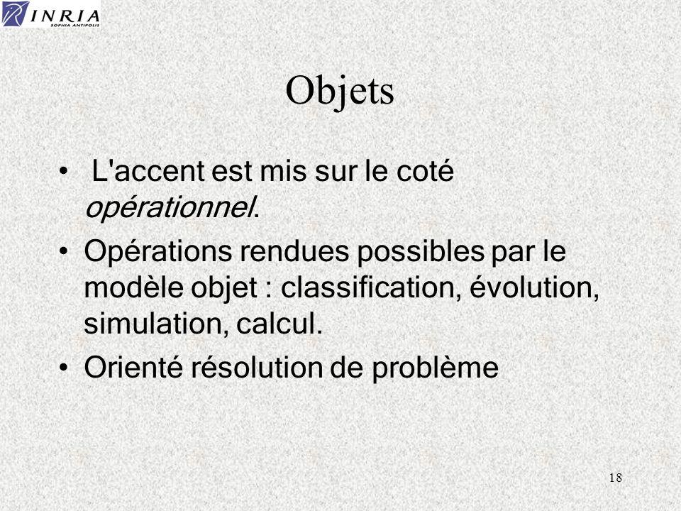 Objets L accent est mis sur le coté opérationnel.