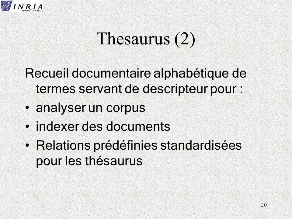 Thesaurus (2) Recueil documentaire alphabétique de termes servant de descripteur pour : analyser un corpus.