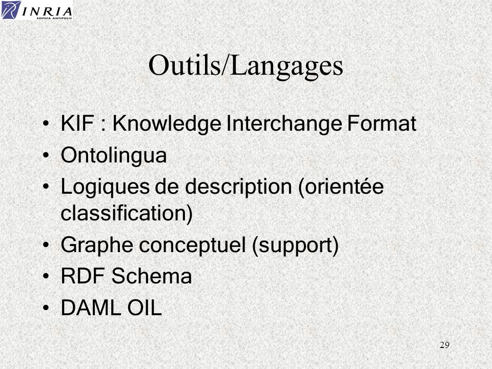 Outils/Langages KIF : Knowledge Interchange Format Ontolingua