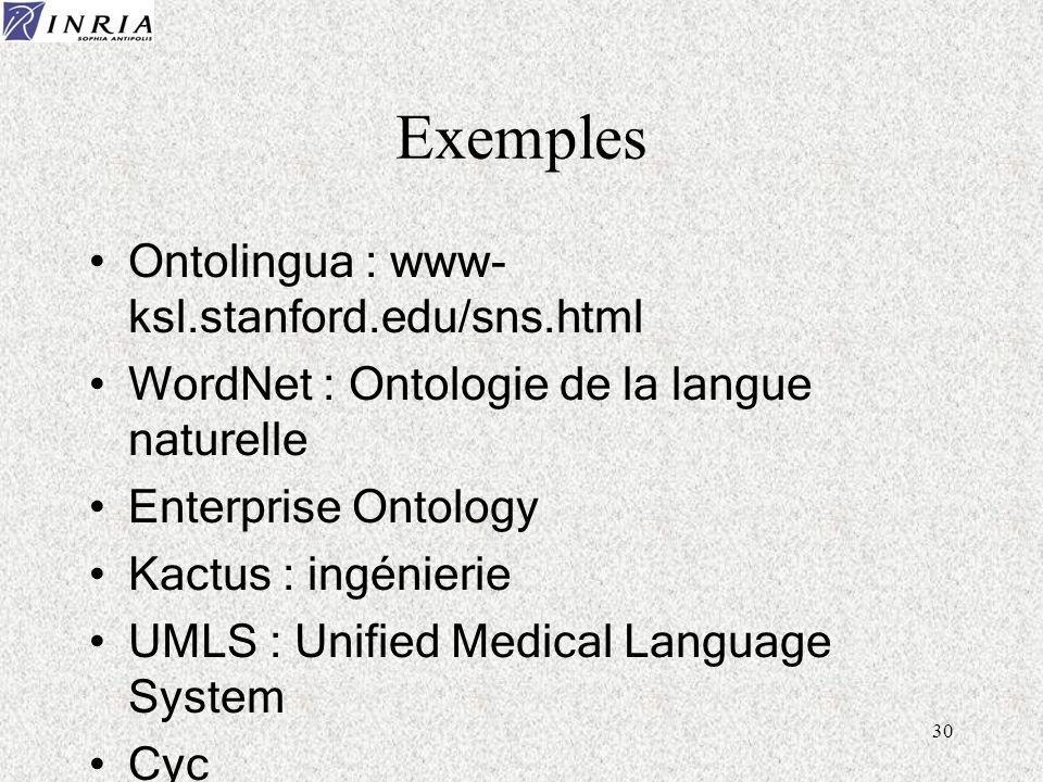 Exemples Ontolingua : www- ksl.stanford.edu/sns.html