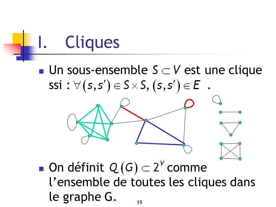 I. Cliques Un sous-ensemble est une clique ssi : .