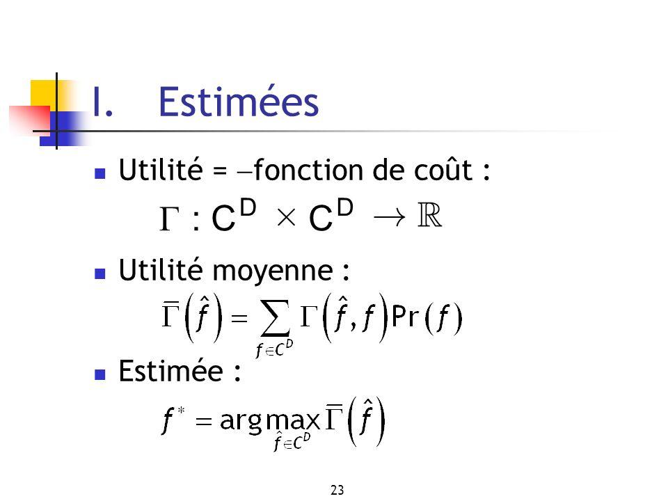 I. Estimées Г : C £ ! R Utilité = fonction de coût :