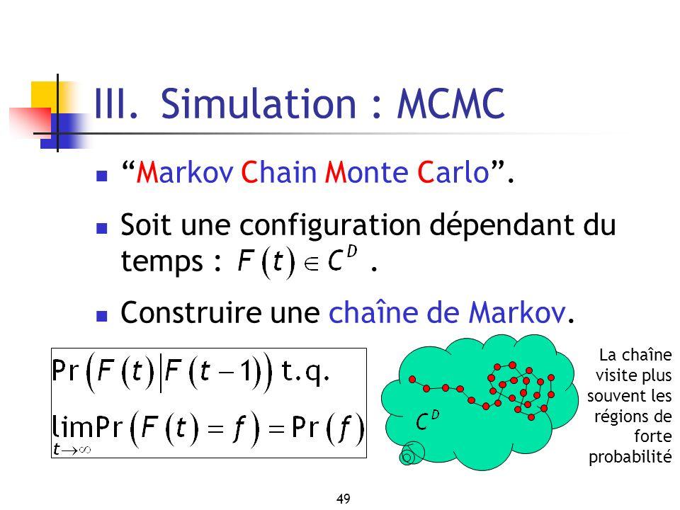 III. Simulation : MCMC Markov Chain Monte Carlo .