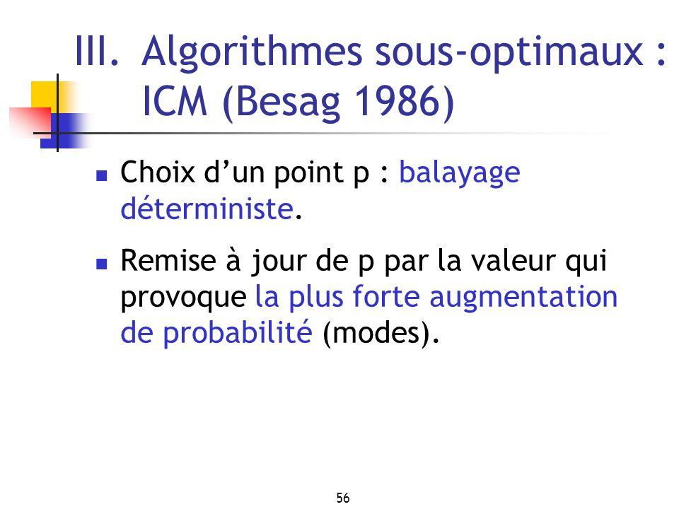 III. Algorithmes sous-optimaux : ICM (Besag 1986)