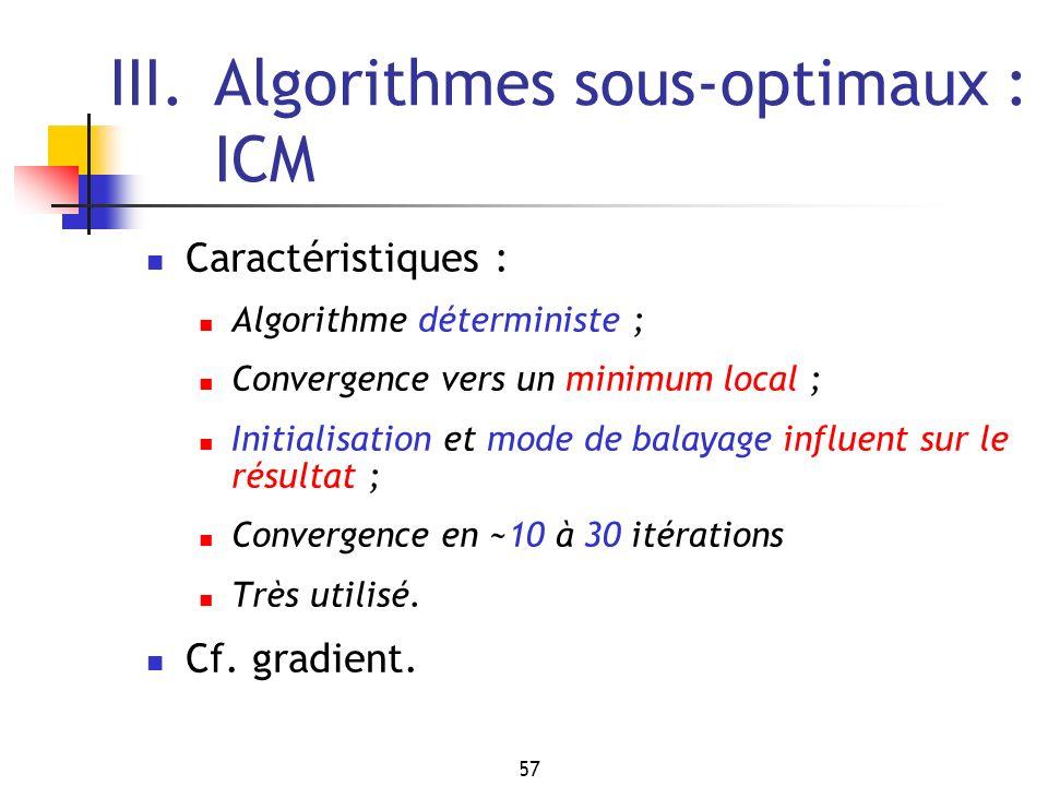 III. Algorithmes sous-optimaux : ICM
