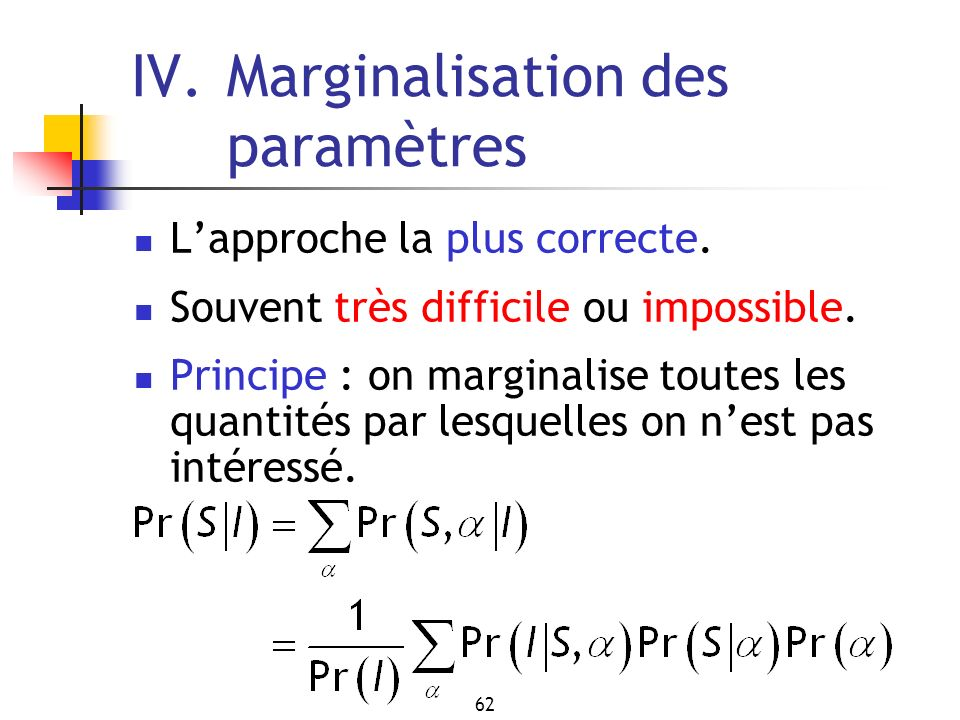 IV. Marginalisation des paramètres