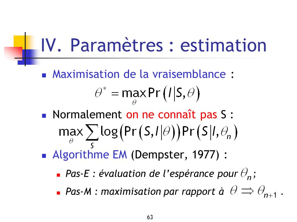 IV. Paramètres : estimation