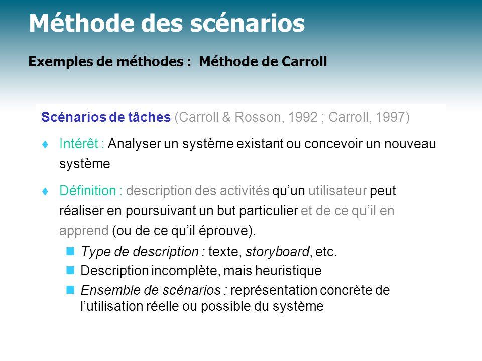Méthode des scénarios Exemples de méthodes : Méthode de Carroll