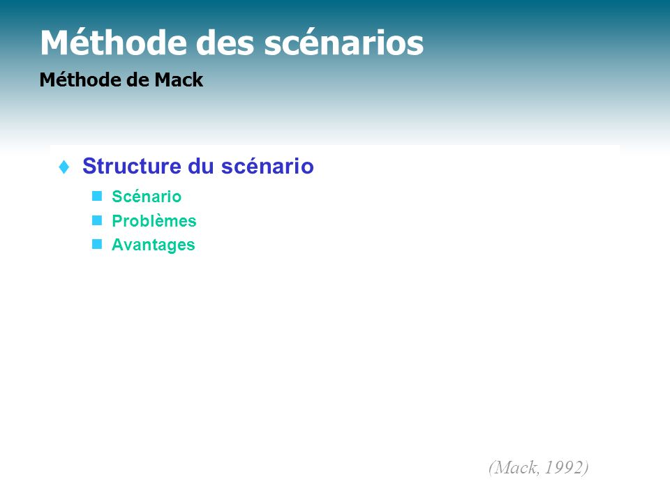 Méthode des scénarios Méthode de Mack