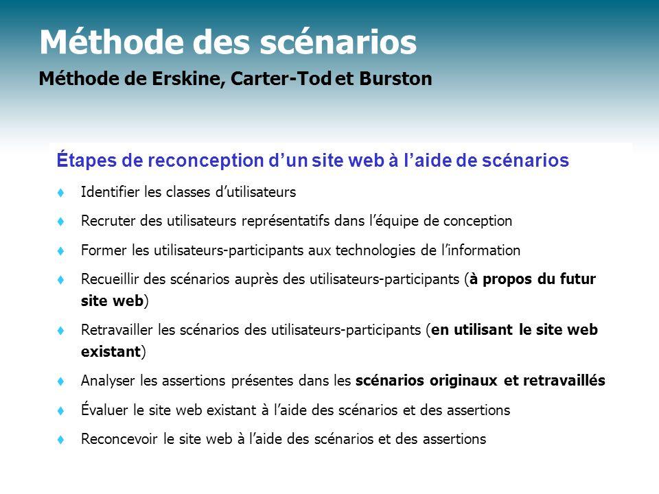 Méthode des scénarios Méthode de Erskine, Carter-Tod et Burston
