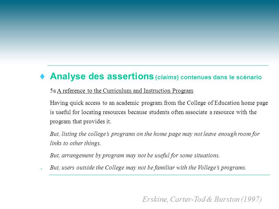 Analyse des assertions (claims) contenues dans le scénario