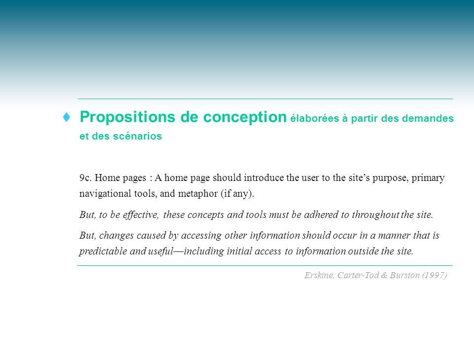 Propositions de conception élaborées à partir des demandes et des scénarios