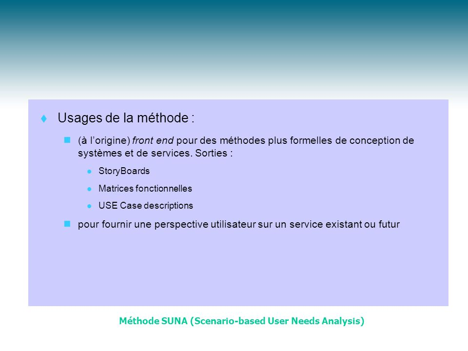 Méthode SUNA (Scenario-based User Needs Analysis)