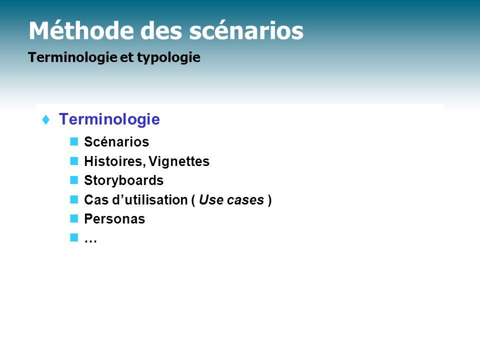 Méthode des scénarios Terminologie et typologie