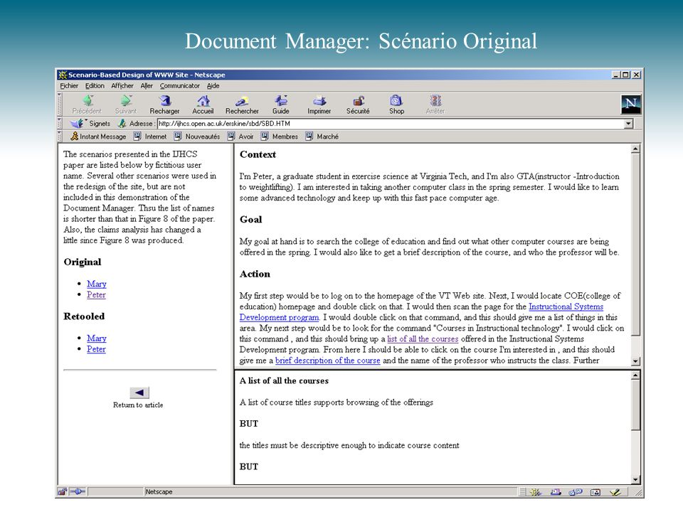 Document Manager: Scénario Original