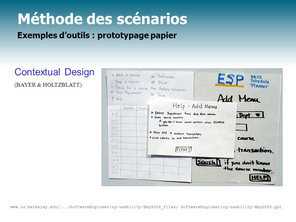 Méthode des scénarios Exemples d'outils : prototypage papier