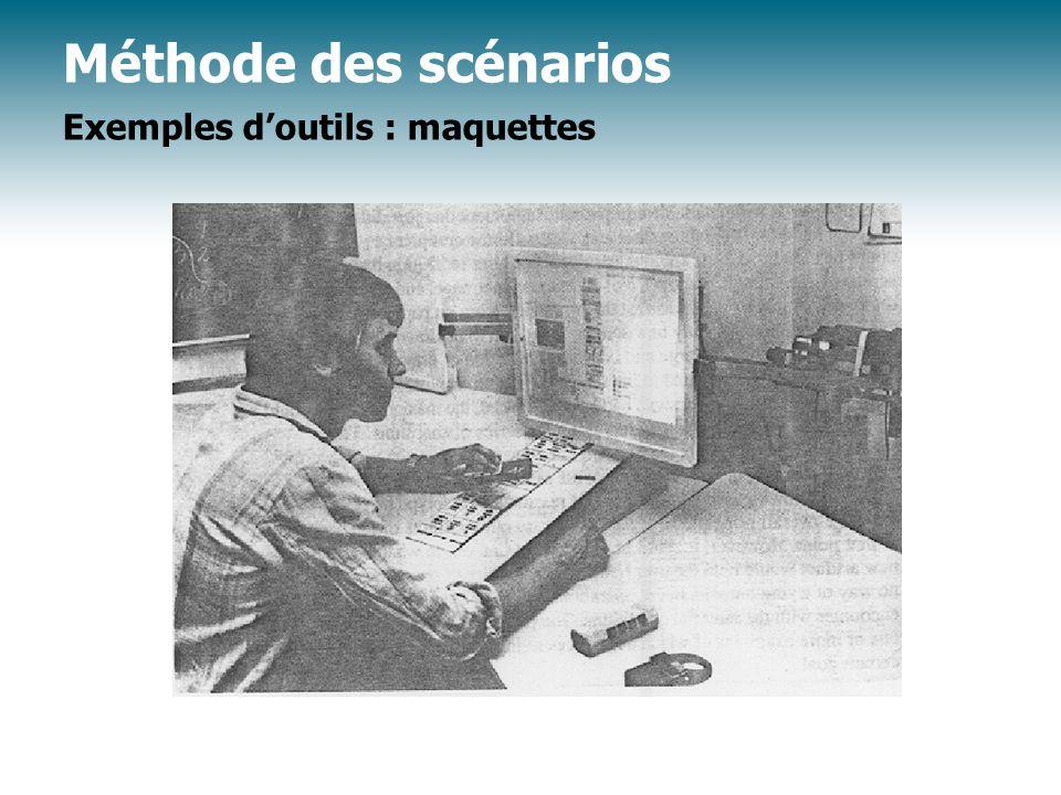 Méthode des scénarios Exemples d'outils : maquettes