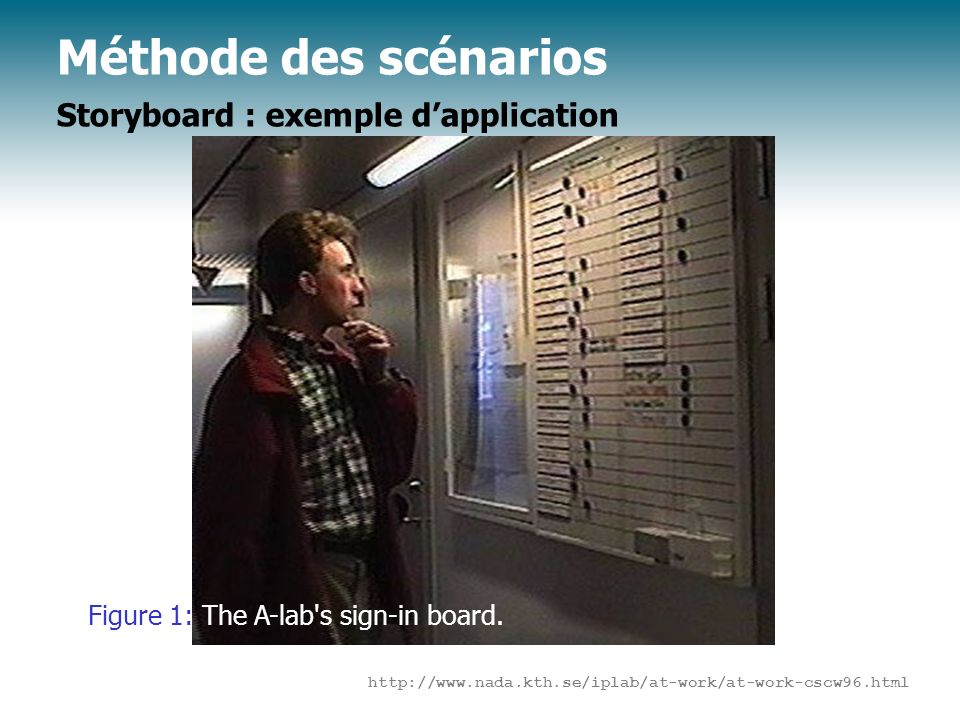 Méthode des scénarios Storyboard : exemple d'application