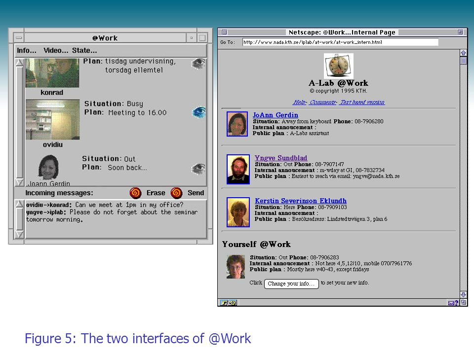 Figure 5: The two interfaces of @Work