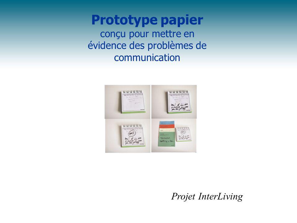 Prototype papier conçu pour mettre en évidence des problèmes de communication