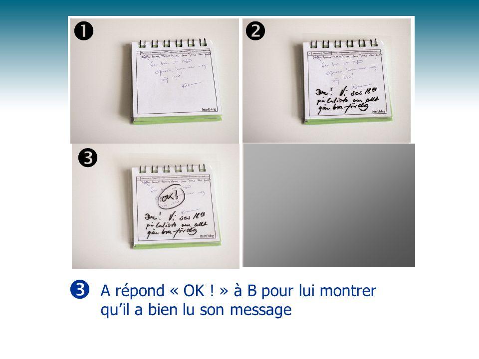      A répond « OK ! » à B pour lui montrer qu'il a bien lu son message