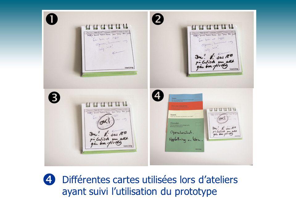     Différentes cartes utilisées lors d'ateliers ayant suivi l'utilisation du prototype