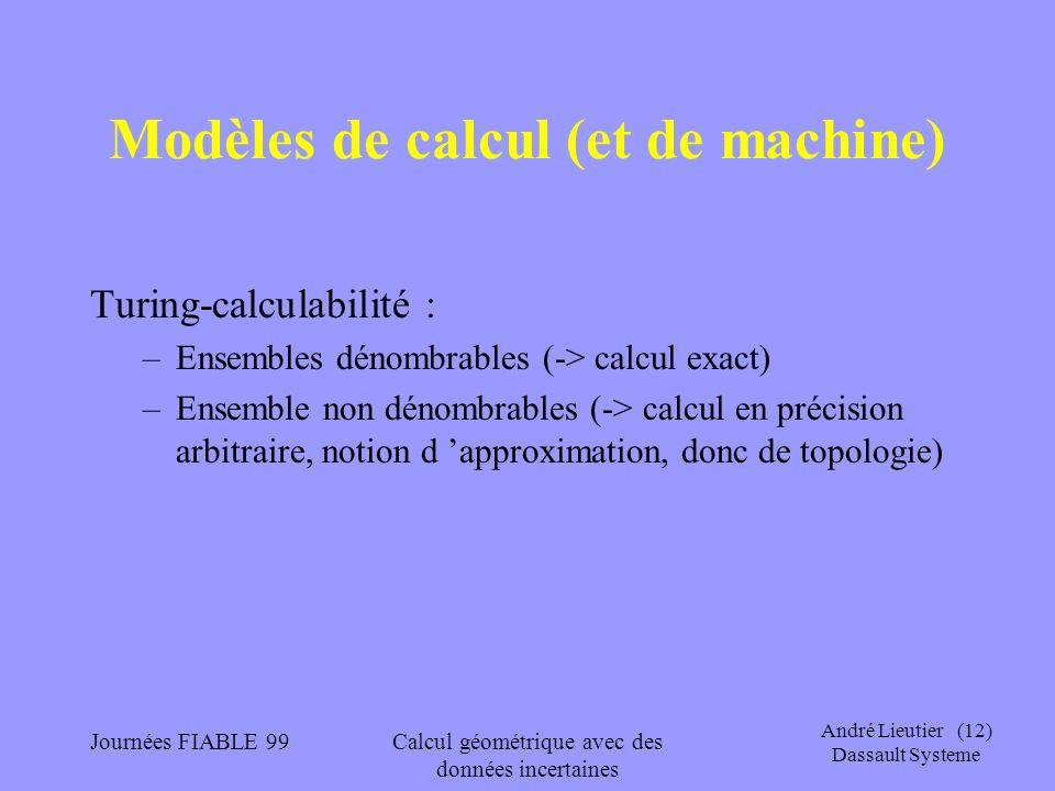 Modèles de calcul (et de machine)