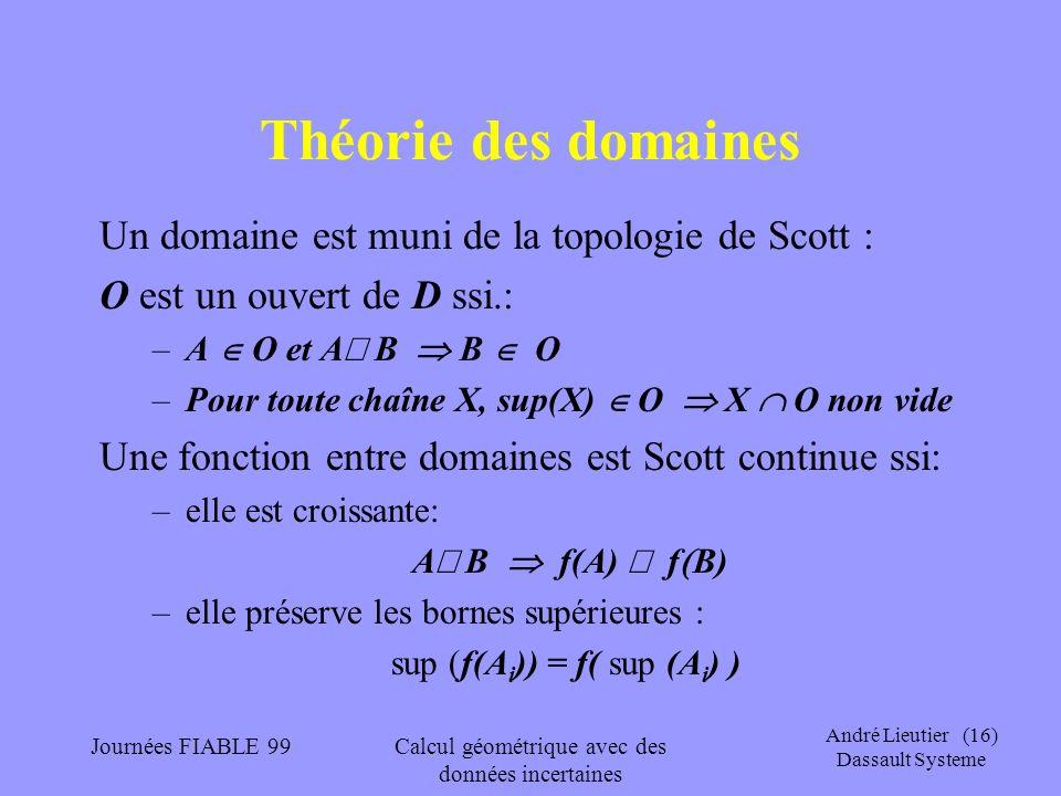 Théorie des domaines Un domaine est muni de la topologie de Scott :