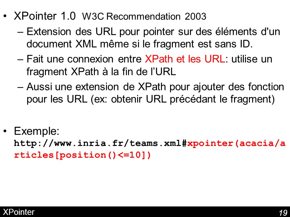 XPointer 1.0 W3C Recommendation 2003