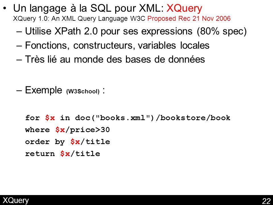 Un langage à la SQL pour XML: XQuery XQuery 1