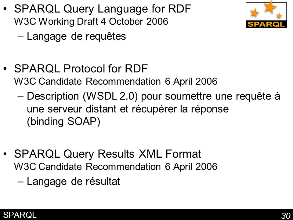 SPARQL Query Language for RDF W3C Working Draft 4 October 2006
