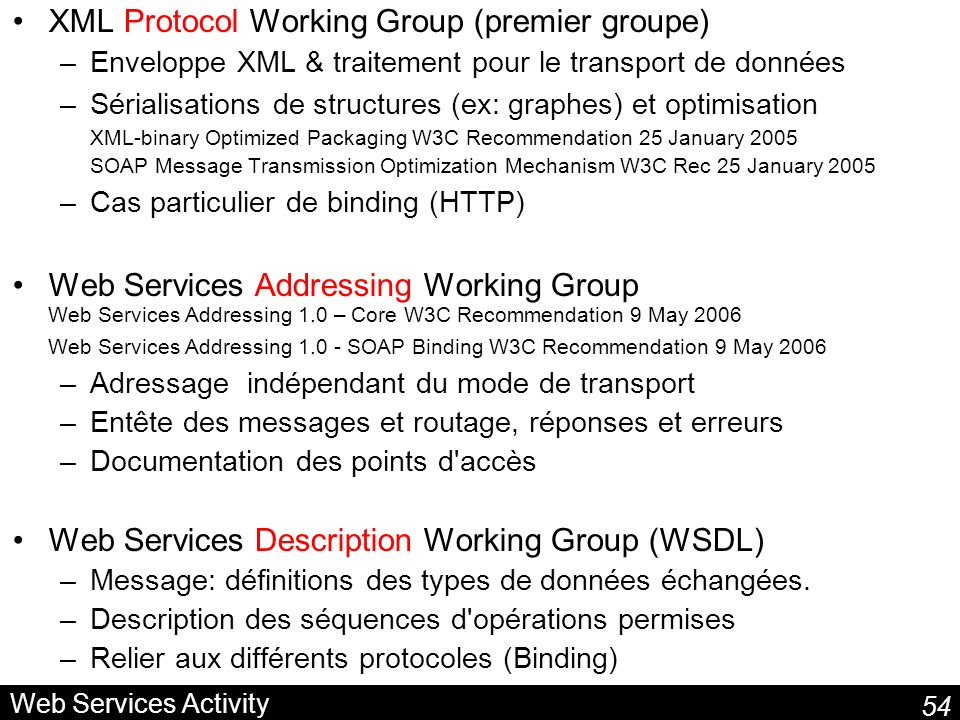 XML Protocol Working Group (premier groupe)