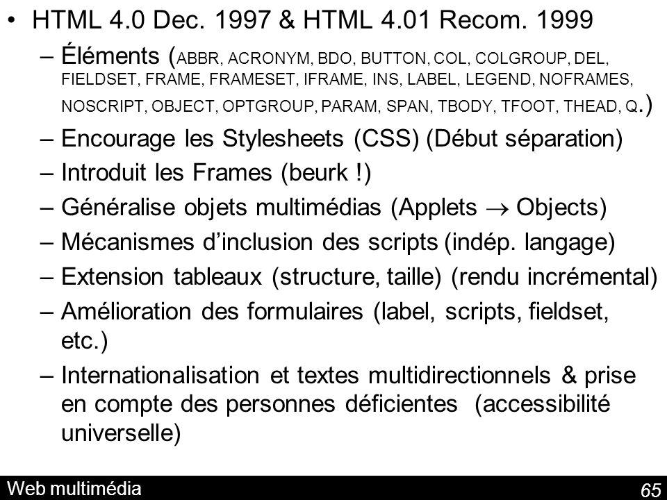 HTML 4.0 Dec. 1997 & HTML 4.01 Recom. 1999