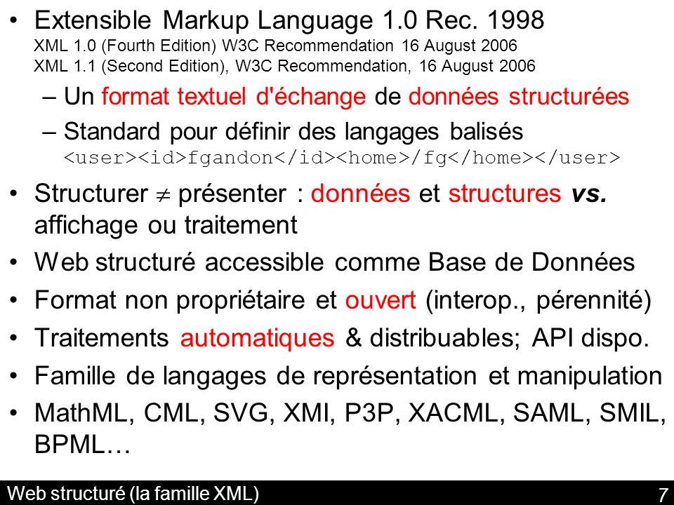Web structuré (la famille XML)