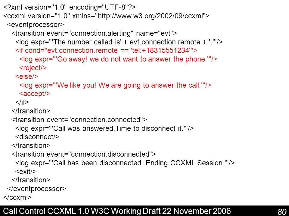 Call Control CCXML 1.0 W3C Working Draft 22 November 2006