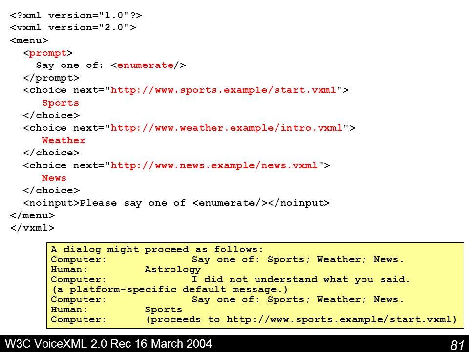 W3C VoiceXML 2.0 Rec 16 March 2004 < xml version= 1.0 >