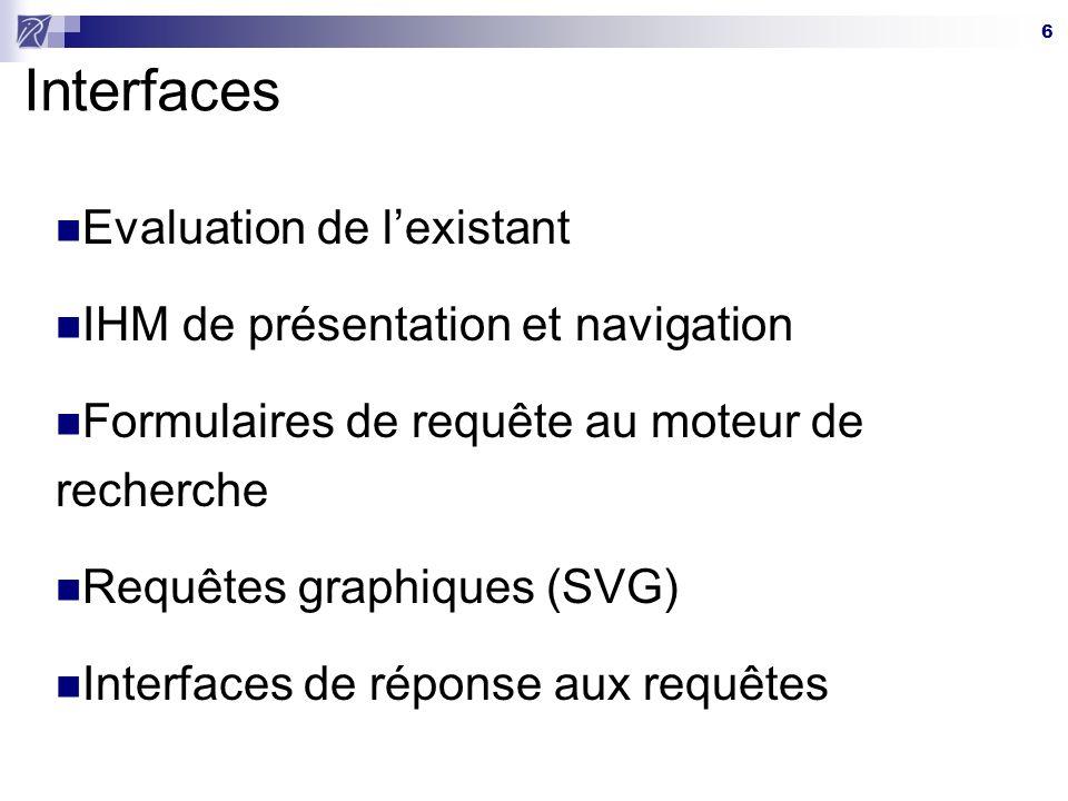 Interfaces Evaluation de l'existant IHM de présentation et navigation