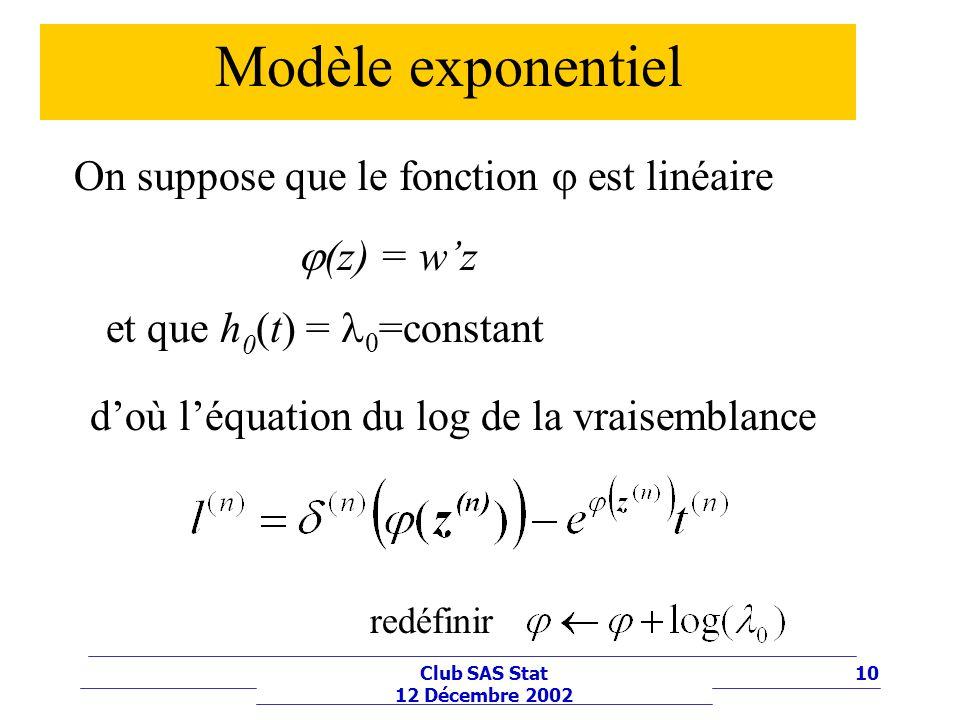 Modèle exponentiel On suppose que le fonction j est linéaire