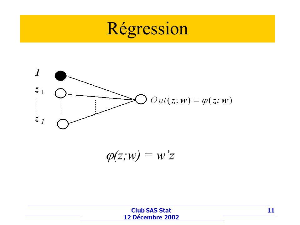 Régression (z;w) = w'z