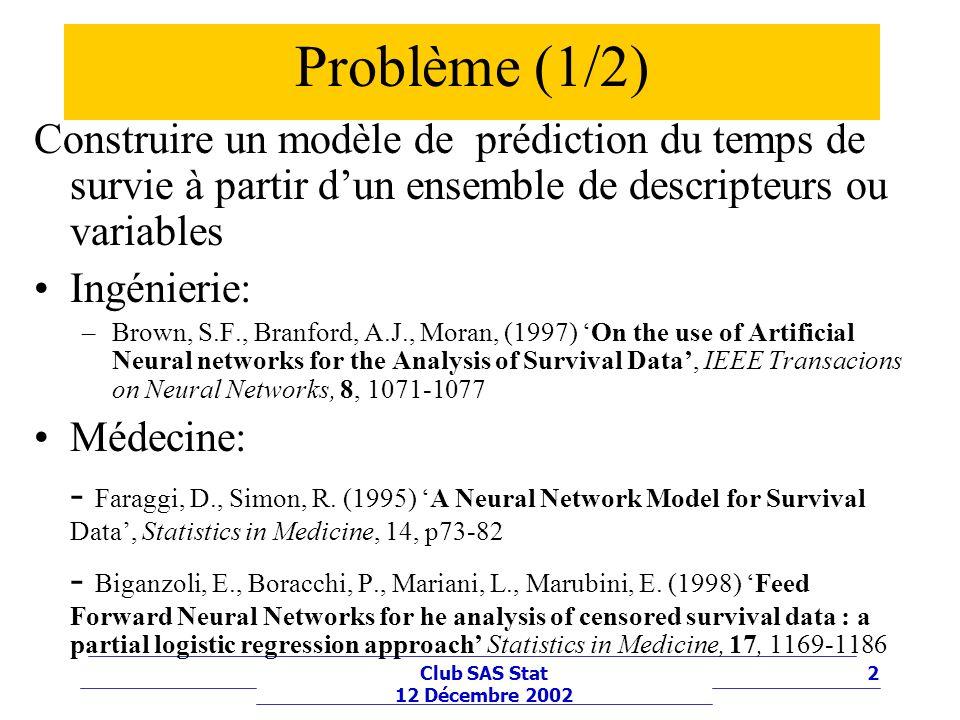 Problème (1/2) Construire un modèle de prédiction du temps de survie à partir d'un ensemble de descripteurs ou variables.