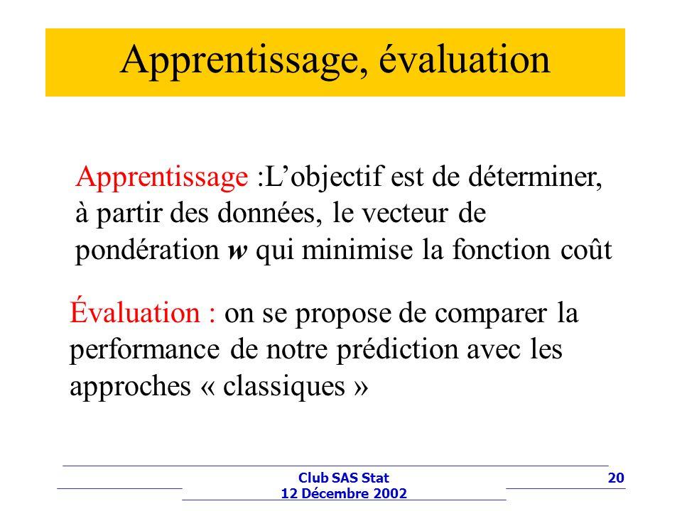 Apprentissage, évaluation