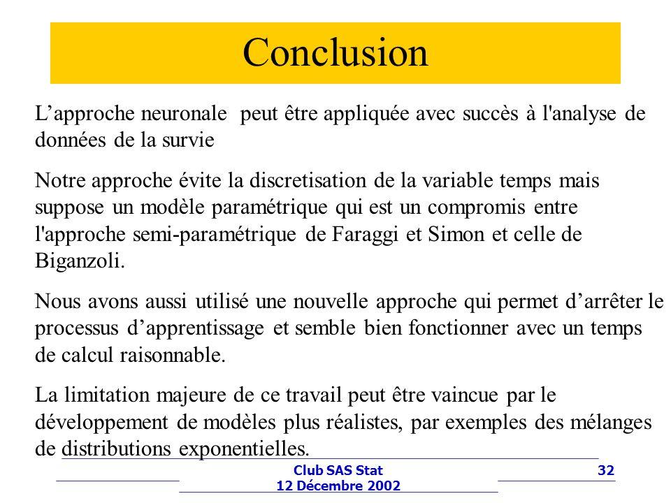 Conclusion L'approche neuronale peut être appliquée avec succès à l analyse de données de la survie.